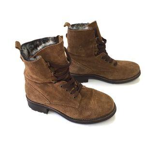 Aldo Boots Suede Faux Fur Size 8 Brown